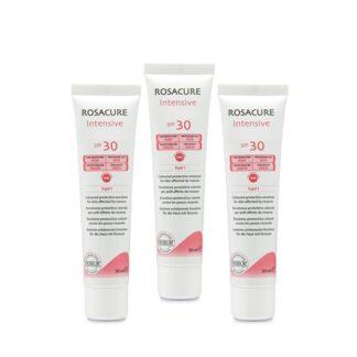 Rosacure Intensive SPF30 3x30ml, emulsão protetora de dia com fator de proteção solar alto (SPF 30 com proteção UVA) para aplicação no rosto, com o objetivo de proteger a pele com rosácea na sua fase eritemato-telangiectásica (couperose) e pápulo-pustulosa