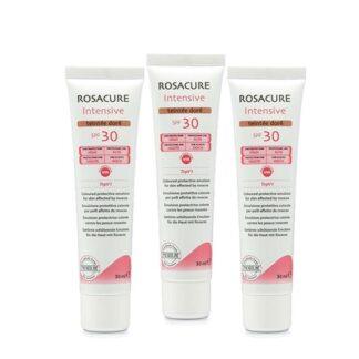 Rosacure Intensive SPF30 Teintée Doré 3x30ml, emulsão protetora com cor e fator de proteção solar alto para aplicação no rosto, indicado para a pele com rosácea na sua fase eritemato-telangiectásica (couperose) e pápulo-pustulosa