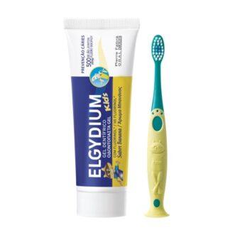 Elgydium Kids Banana 50ml, gel dentífrico para apreensão das cáries das crianças, o esmalte da dentição temporária é mais fino e menos mineralizado que o dos dentes definitivos.