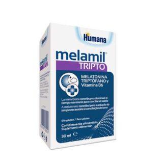 Melamil Tripto, suplemento alimentar à base de melatonina, triptófano e vitamina B6.