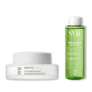 SVR Peptibiotic Gel Mate + Sebiaclear Micro-Peel 150ml,purifica a pele com imperfeições apresentando rugas e rídulas