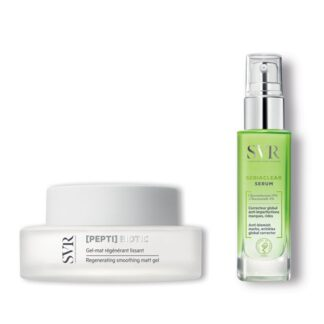 SVR Peptibiotic Gel Mate + Sebiaclear Serum 30ml, acne e sinais de idade