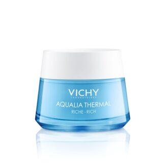 Vichy Aqualia Creme Rico Reidratante Pote 50ml o primeiro cuidado de hidratação dinâmica que estimula a circulação de água em todas as áreas do rosto.