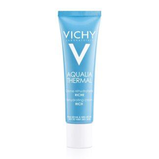 Vichy Aqualia Creme Rico Reidratante Tubo 30ml o primeiro cuidado de hidratação dinâmica que estimula a circulação de água em todas as áreas do rosto.