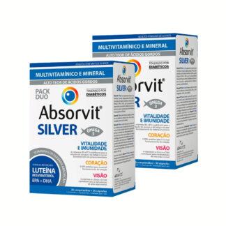 Absorvit Silver 30 Cápsulas + 30 Comprimidos é um suplemento alimentar com vitaminas, minerais, oligossacáridos (FOS e GOS), reforçado com luteína, resveratrol e ácidos gordos Ómega-3 (DHA e EPA).