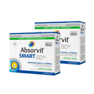 bsorvit Smart 50+ 30 Ampolas,tónico cerebral. Além disso contém uma ação anti oxidante, indicado para o reforço das capacidades cognitivas, melhoria do rendimento intelectual e dificuldade de concentração e memorização. De forma que é um importante reforço para adultos a partir dos 50 anos.