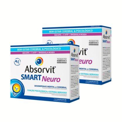 Absorvit Smart Neuro 30 Ampolas,suplemento alimentar. Tónico cerebral com a finalidade de reforçar as faculdades cognitivas, melhorar o rendimento intelectual dificuldade de concentração e menorização. Em suma promove o bem estar psicológico e emocional.