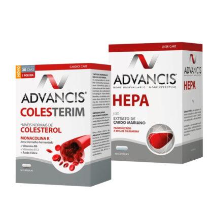 O Pack contém Advancis Colesterim, com a finalidade de reduzir o colesterol total e colesterol LDL e garantir proteção cardiovascular e Advancis Hepa 60 Cápsulas, contém uma ação antioxidante e protetora hepática