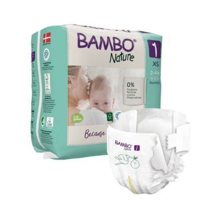 As Fraldas Bambo Nature são macias, confortáveis e mantêm seca até a pele mais sensível.