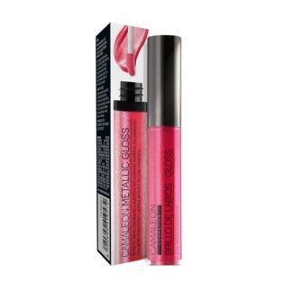 Camaleon Metallic Gloss Cereja 9ml, gloss para dar brilho aos lábios com acabamento metálico.