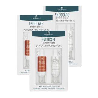Endocare Expert Drops Depigmenting Protocol 2x10ml, protocolo de textura sérica diurna e noturna para pele luminosa e uniforme, reduzindo visivelmente as manchas escuras