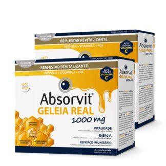 Absorvit Geleia Real 2x20 Ampolas,suplemento alimentar. Desenvolvido com a finalidade de reforçar as defesas naturais, revitalizar e fortalecer o organismo em crianças, adultos e idosos.