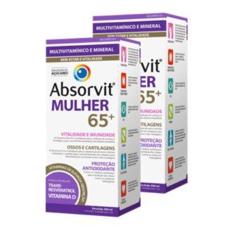 Absorvit Mulher 65+ 300ml, é um suplemento alimentar na forma de uma emulsão cremosa,
