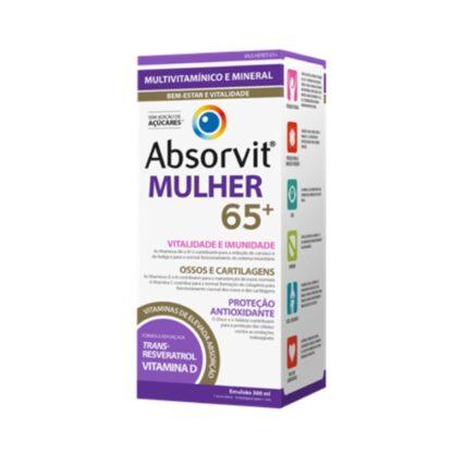 Absorvit Mulher 65+ 300ml, é um suplemento alimentar na forma de uma emulsão cremosa