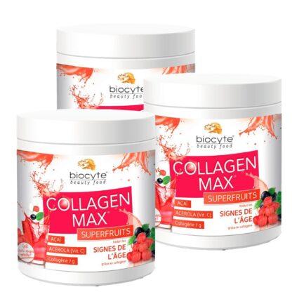 Biocyte Collagen Max SuperFruits 3x260gr suplemento alimentar à base de Colagénio hidrolisado marinho para combater as rugas e a flacidez da pele