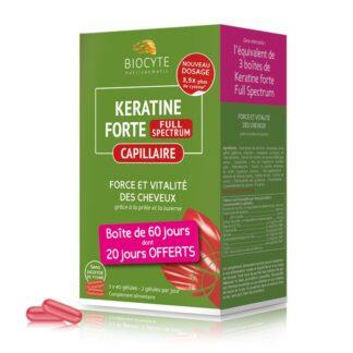 Biocyte Keratine Extra Plus 3x40 Cápsulas, suplemento alimentar de toma diária à base de queratina, vitaminas do complexo B, zinco e cobre. Especialmente formulado para fortificar o cabelo fraco e sem vida.