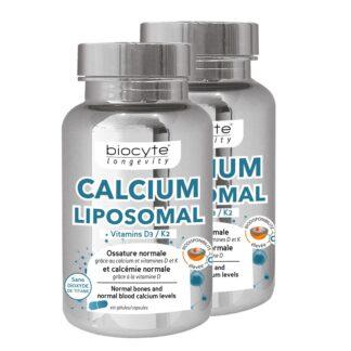 Biocyte Longevity Calcium Vitamina D 2x60 Cápsulas, contribui para a manutenção de ossos normais, graças ao cálcio e às vitaminas D e K