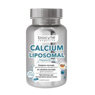 Biocyte Longevity Calcium Vitamina D 60 Cápsulas, contribui para a manutenção de ossos normais, graças ao cálcio e às vitaminas D e K.