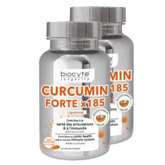 Biocyte Longevity Curcumin Forte 2x30 Cápsulasé formulado com curcumina microencapsulada na forma de micelas.