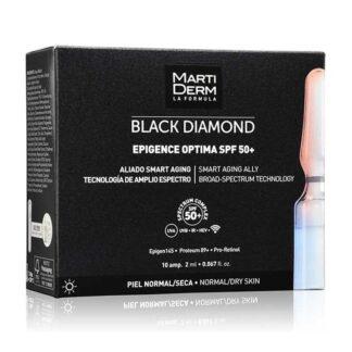 Martiderm Black Diamond Epigence Optima SPF50+ 10 Ampolas, fórmula revolucionária anti-idade global, que protege contra a UV/IV/luz azul e radiações emitidas por dispositivos WI-FI e Bluetooth