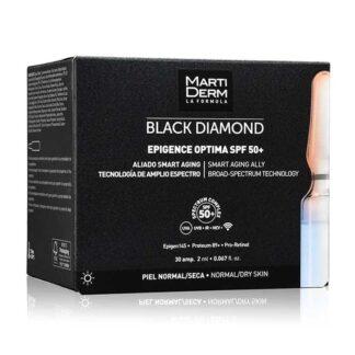 Martiderm Black Diamond Epigence Optima SPF50+ 30 Ampolas, fórmula revolucionária anti-idade global, que protege contra a UV/IV/luz azul e radiações emitidas por dispositivos WI-FI e Bluetooth.