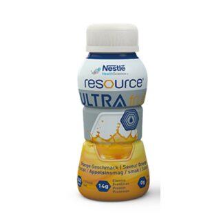 Nestlé Resource Ultra Fruit Laranja 4x200ml é uma dieta hipercalórica com sabor similar a sumo de fruta
