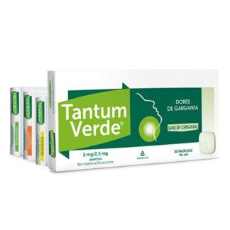 Tantum Verde Sem Açúcar 3mg Sabor Laranja-Mel 20 Pastilhas, medicamento indicado para o alívio da dor e irritação da boca e garganta.