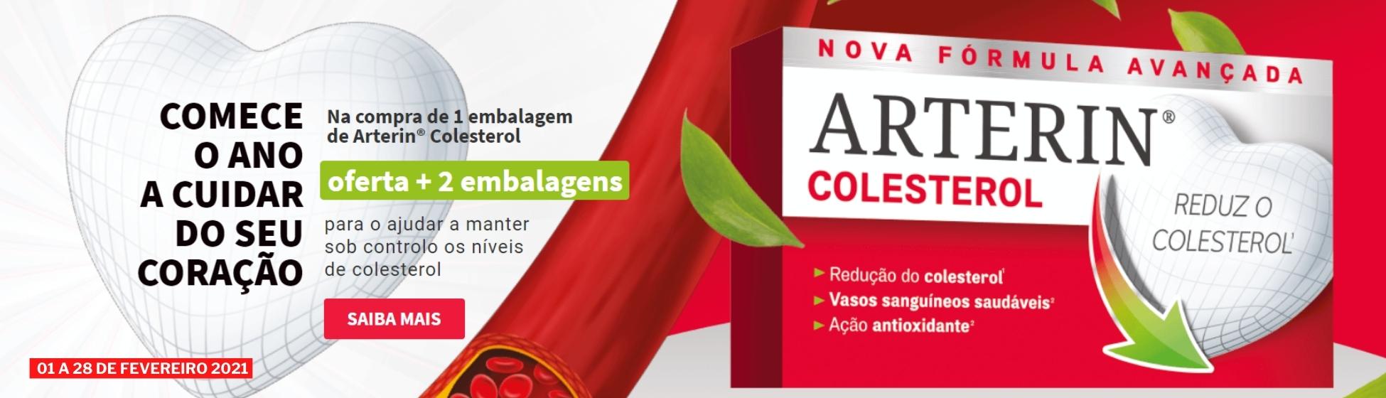 Arterin Colesterol 30 Comprimidos é um suplemento alimentar eficaz e bem tolerado, baseado em extratos naturais que ajudam a diminuir e/ou manter o colesterol