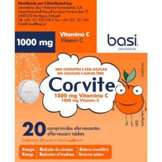 Corvite 20 Comprimidos Efervescentes, suplmento alimentar, com vitamina C, para a redução do cansaço e para o sistema imunitário.