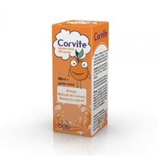 Corvite Gotas 20ml, suplemento alimentar, com vitamina C, para a redução do cansaço e para o normal funcionamento do sistema imunitário.