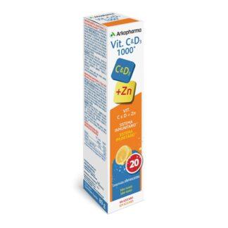Arkopharma Vitamina C e D3 + Zinco 20 Comprimidos Efervescentes, vitamina C e D3 + Zinco , fórmula inovadora com a associação de vitaminas mais potente do mercado