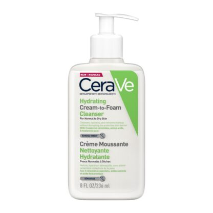 CeraVe Creme Espuma Hidratante de Limpeza 236ML creme com espuma de limpeza de rosto e corpo para pele normal a seca.