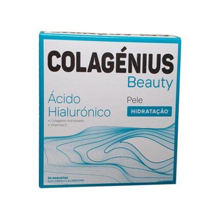 Colagénius Beauty Acido Hialurónico com Vitamina C que contribui para a proteção das células contra as oxidações indesejáveis e para a normal formação de colagénio para um funcionamento normal da pele.