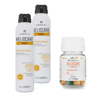 PackHeliocare para uma protecão 360 da pele. Pack com Heliocare 360º Invisible Spray SPF 50+ 200ml spray
