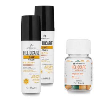 PackHeliocare para uma protecão 360 da pele. Pack com Heliocare 360º Gel Oil Free SPF50+ gel fotoprotetor para pele mist