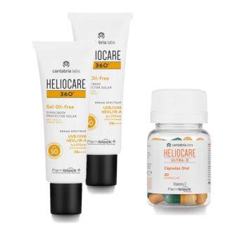 PackHeliocare para uma protecão 360 da pele. Pack com heliocare 360º Gel Oil Free SPF50+ gel fotoprotetor para pele oleosa ou propensa à acne