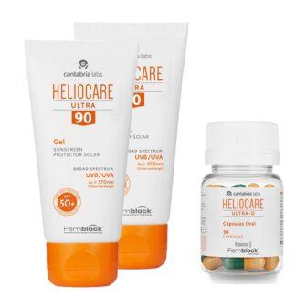 PackHeliocare para uma protecão 360 da pele. Pack com Heliocare Ultra 90 Gel SPF50+ 50ml gel fotoprotetor para exposição solar intensa e Heliocare Ultra D
