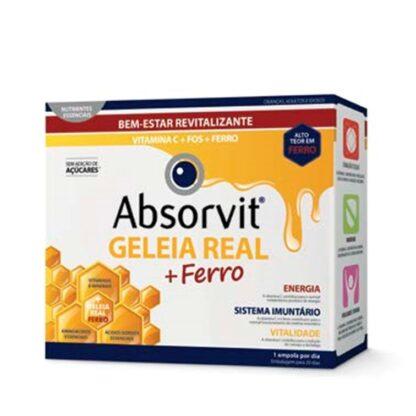 Absorvit Geleia Real + Ferro 20 Ampolasé um suplemento alimentar com Geleia Real, reforçado com Vitamina C e Frutooligossacáridos (FOS).