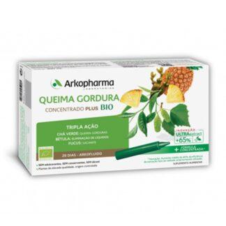 Arkofluido Queima Gordura Bio é uma suplemento alimentar à base de chá verde, fucus, bétula e ananás.