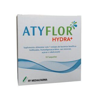 Atyflor Hydra+ 10 Saquetas, contém um mistura solúvel de 7 estirpes de bactérias benéficas liofilixadas, frutooligossacarideos, sais minerais