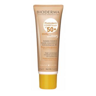 Bioderma Photoderm Cover Touch SPF 50+ Cor Dourado 40gr, proteção solar mineral com elevada cobertura e não oclusiva.