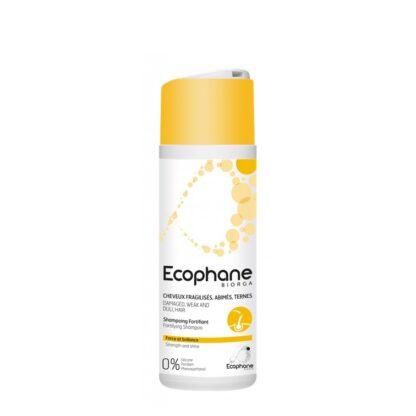 Ecophane Champô Fortificante 100ml, devolve a força e o brilho aos cabelos fragilizados, estragados e baços.