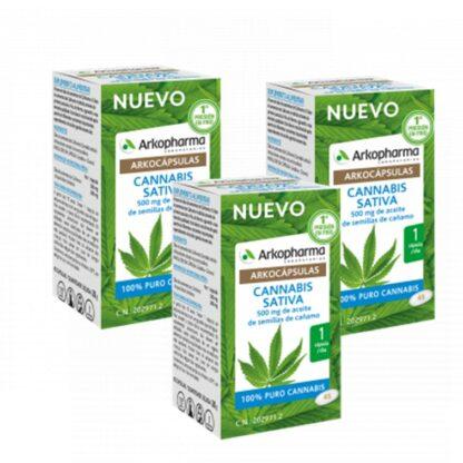 Arkocápsulas Cannabis Sativa 3x45 Cápsulas, é um suplemento alimentar com ingredientes 100% vegetais.
