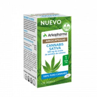 Arkocápsulas Cannabis Sativa 45 Cápsulas, é um suplemento alimentar com ingredientes 100% vegetais.