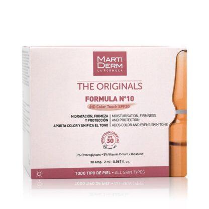 Martiderm The Originals Formula Nº10 HD Color Tauch SPF30 30 Ampolas oferece eficácia, proteção e cor num só gesto.