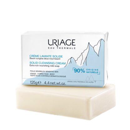 Uriage Creme Lavante Solido 125gr, com um agradável perfume, este cuidado de limpeza e nutrição