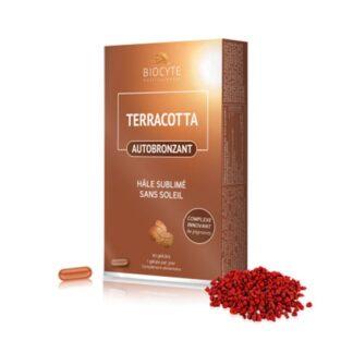 Biocyte Terracotta Autobronzeador é um complexo inovador de pigmentos e plantas combinados com Vitamina D, para um belo bronzeado sem sol.