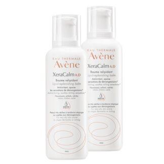 Avène XeraCalm A.D Bálsamo Relipidante Pack 2x400ml , com o propósito de nutrir a pele seca e acalmar a sensação de prurido.
